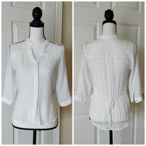 Anthropologi Mine lace top button down shirt sz S